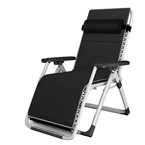 Liegestuhl Reclining, Sonnenliege Klappbarer Sessel Tragbarer Camping Strandkorb Sonnenliege (Color : Black)