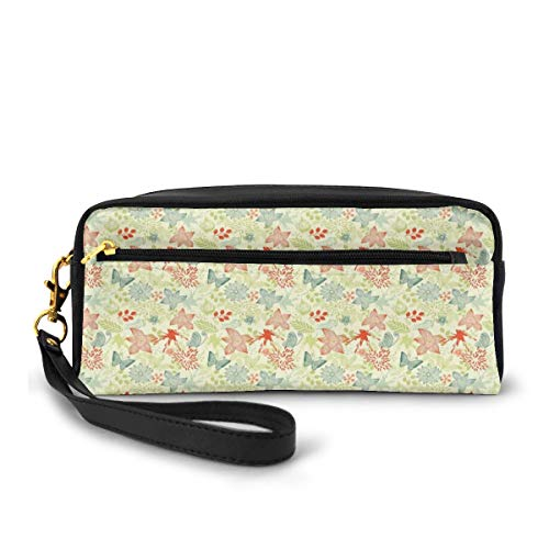 Pencil Case Pen Bag Pouch Stationary,Butterflies and Wildflowers Pattern on Color Splash Background,Small Makeup Bag Coin Purse