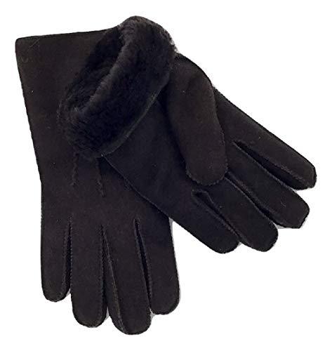 Handschuhe aus reinem Lammfell, dunkelbraun, Lammfellhandschuhe elegant genäht, Für den Winter, Grösse 9