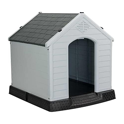 7H SEVEN HOUSE Caseta de Resina para Perros 98,5x105x96,5cm 7house | Caseta para Perros Grandes | Caseta de Plástico 100% Reciclable y Ecológico | Caseta Mascota Exterior e Interior