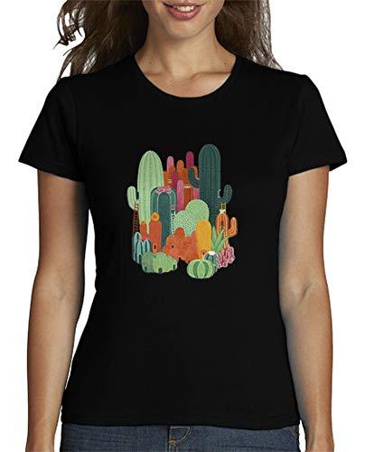 latostadora - Camiseta Remera Ciudad Cactus para Mujer Negro M