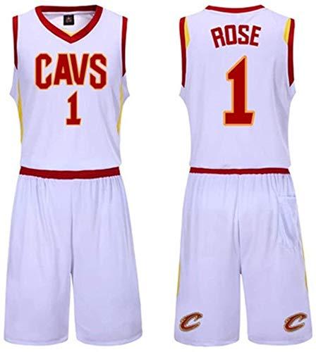 DHFDHD Jersey de Baloncesto NBA Ropa de Baloncesto, Juego de los Deportes del Chaleco Masculino, Blanco Cavaliers Jersey, Nº 23, James, Wade, Nº 9, Nº 1 Rose Camiseta de Baloncesto