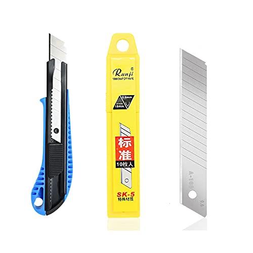Cuchillo utilitario empapelado cuchillo cuchilla de bolsillo estudiante portátil todo metal aleación de titanio cuchillo titular de corte de papel pegatinas (Azul plastico)