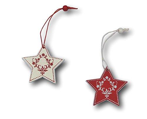 12 Piezas. Juego de Adornos para árbol de Navidad, Figuras de Madera, colgadores, Adornos de Madera, Silueta de Color Rojo y Blanco (diseño: Estrella)