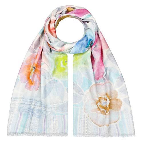 Japanwelt Damen Baumwoll-Seidenschal mit 10% Seide großes Halstuch Tuch Schal 70 x 180 cm Pastell Blumen