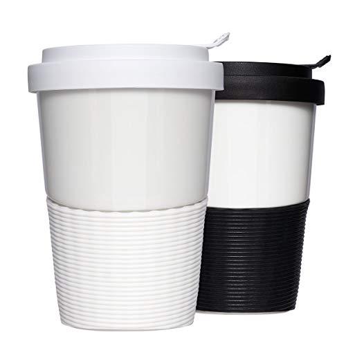 Mahlwerck Wave Kaffeebecher to go Set, Porzellan Coffee-to-go Becher mit auslaufsicherem Deckel, Schwarz, Weiß, 400ml