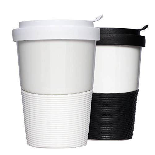 Mahlwerck Wave Kaffeebecher to go Set, Porzellan Kaffee to go Becher mit auslaufsicherem Deckel, Schwarz & Weiß, 350ml