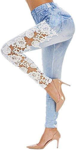 Damen Jeanshosehosen Damen Jeans Low Bekleidung Waist Jeans Festlich Niedrige Taille Damen Skinny Hose Mit Löchern Spitzeneinsatz Leggings Röhrenjeans Frauen Jeans Hose Damenjeans