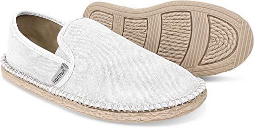 normani Sommer Schuhe - Klassische Espadrillas - Flache Stoffschuhe - Freizeitschuhe für Damen und Herren [Gr. 36-46] Farbe Weiß Style 1 Größe 42
