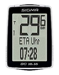 Sigma Sport vélo ordinateur BC 16.16, 16 fonctions, heure d'arrivée, tachymètre vélo avec câble, étanche
