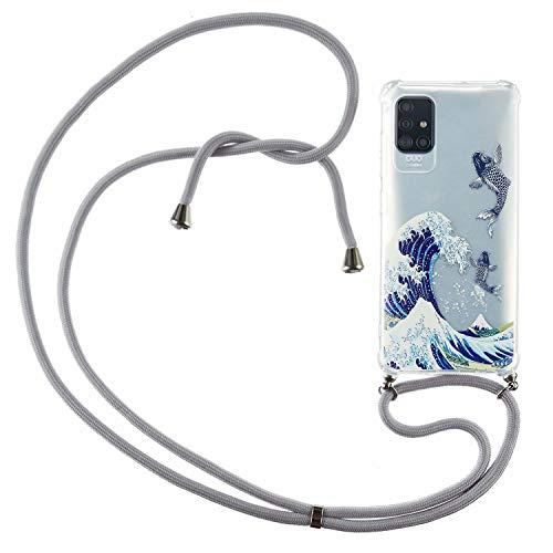 Nadoli Handykette Hülle für Samsung Galaxy A51,Weich Handyhülle mit Kordel zum Umhängen Necklace Cover mit Band Schutzhülle Halsband Case mit Umhängeband,Welle Fisch