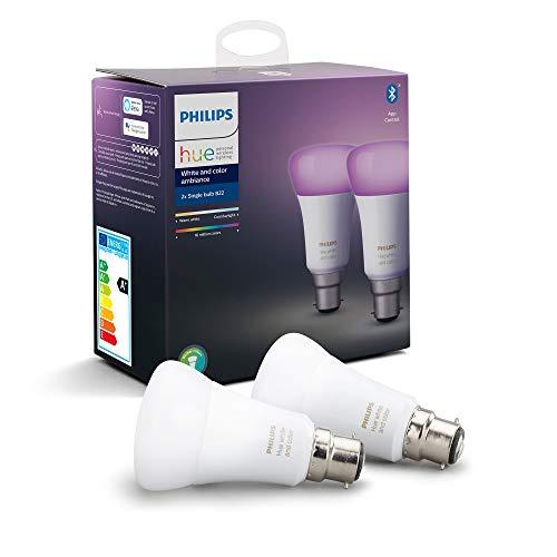 Philips Hue Pack de 2 Bombillas Inteligentes LED B22, con Bluetooth, Luz Blanca y Color, Posibilidad de Control por Voz