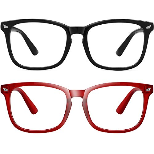 MEETSUN Blue Light Blocking Glasses, Anti Eye Strain Headache (Sleep Better),Computer Reading Glasses UV400 Transparent Lens (Black+Red, 53)