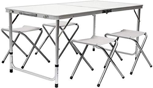GreaTool Mesa para Acampada 120x60x70cm Incl 4 Taburetes Plegable portátil como si Fuera un maletín Altura Regulable para pícnic Camping Gris Claro (Conjunto mesa y 4 sillas)