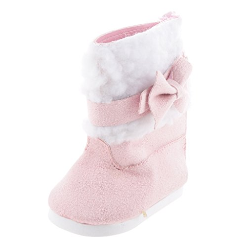 Baoblaze 1 Paar Puppenschuhe Pink Stiefel mit Bowknot Für 18 Zoll Mädchen Puppen