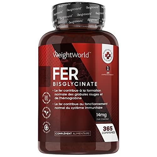 FER Bisglycinate 14 mg - 365 Comprimés - Complément Alimentaire Fer Vegan Haute Absorption - Anti Fatigue, Pour le Fonctionnement Normal du Système Immunitaire - Iron Supplement Femme et Homme