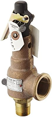 """Kunkle 6010EDE01-AM0200 Bronze ASME Safety Relief Valve for Steam, EPR Soft Seat, 200 Preset Pressure, 3/4"""" NPT Male Inlet x 1"""" NPT Female Outlet by Tyco Valves & Controls"""