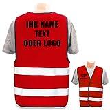 Warnweste mit eigenem Aufdruck selbst gestalten * Bedruckt mit Name Text Bild Logo Firma, Position & Druckart:Rücken + Front/Premium-Druck,...