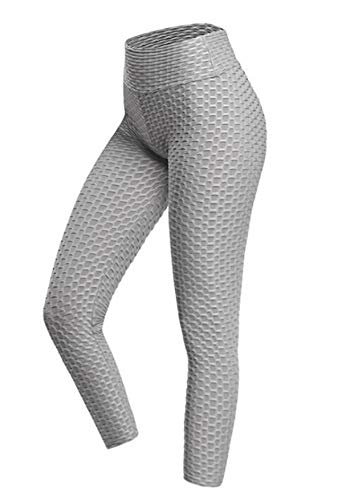 ASKSA Damen Sporthose Anti-Cellulite Compression Leggings Slim Fit Butt Lift Elasticated Trousers Jogginghose(Gray,M)
