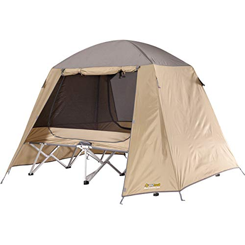 Easy Fold Allwetter Einzel Liege - Einzel - Bequeme und leichte Liege mit einem hoch atmungsaktiven, speziellen Netz-Zelt und einem robusten Regenüberzelt 90x220cm 18kg FBS-SSED-C Feldbettzelt
