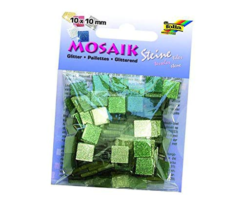 Mosaiksteine Mit Glitter 10x10mm. 190 Stück - Grün, Folia Bringmann