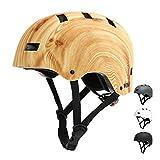 Vihir - Casco de bicicleta para adultos, para patinaje electrónico, BMX, para hombre, mujer, deportivo, para hombres y mujeres, color negro, blanco, gris oscuro, color Vetas de madera,M: 55-59cm