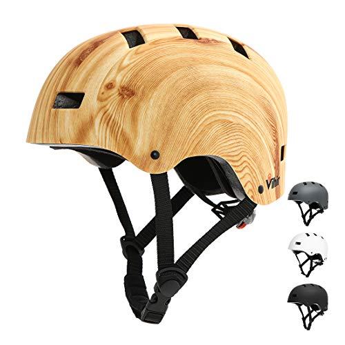 Vihir Erwachsene Fahrradhelm Skaterhelm E-Scooter E-Roller BMX Fahradhelm Herren Damen Sport Helm für Männer & Frauen Schwarz Weiß Dunkelgrau (L 56-60CM, Holzmaserung)