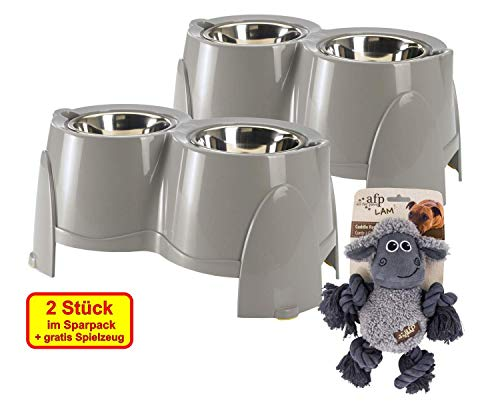 PETGARD 2er Sparpack Futterstation Ergo Feeder 850 ml + gratis Hundespielzeug