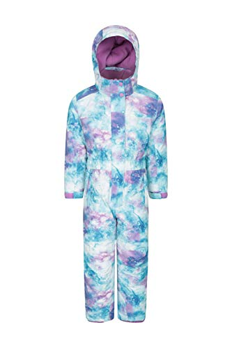 Mountain Warehouse Cloud All In One Schneeanzug für Kinder - Wasserfest, versiegelte Nähte, Winter-Jumpsuit, Skianzug mit Fleecefutter, Mädchen, Jungen Weiß 3-4 Jahre