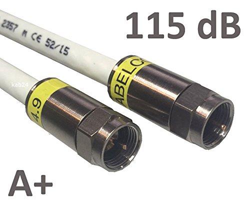 Kab24® HQ Antennenkabel Schirmung > 115 dB EN 60966-2-6 Klasse A+ mit beidseitigen Kompressionssteckern (8m, F-Stecker Gewinde <> F-Stecker Gewinde)