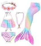 5pcs Queue de sirène Enfant Fille pour Nager Bikini Maillot de Bain sirène Queue Princesse Mermaid Tails Costume Contient Une Guirlande et Un Collier (HXGB15,120)