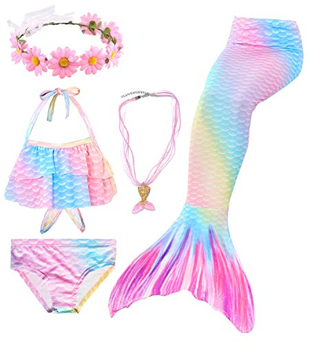 5pcs Queue de sirène Enfant Fille pour Nager Bikini Maillot de Bain sirène Queue Princesse Mermaid Tails Costume Contient Une Guirlande et Un Collier (HXGB15,130)