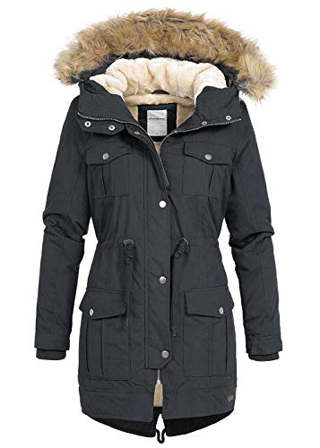 Seventyseven Lifestyle Damen Winter Parka Jacke Kapuze Kunstfell abnehmbar schwarz, Gr:M
