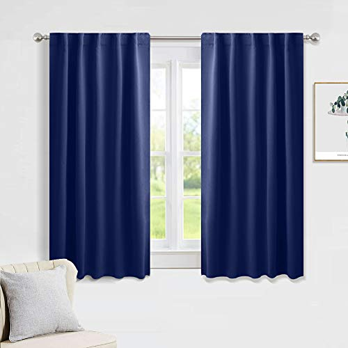 PONY DANCE Blackout Curtains Set Rod Pocket Curtain Panels Thermal Insulated Window Coverings with 6 Back Loops Per Panel for Kids' Room, 42 Wide by 54 Long, Purplish Blue, 2 PCs