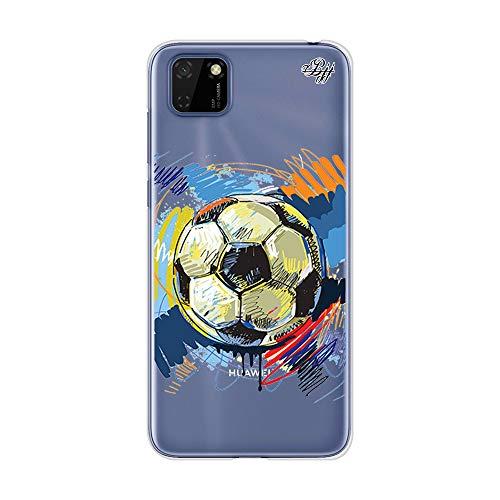 BJJ SHOP Transparent Slim Hülle für [ Huawei Y5p ], Klar Flexible Silikonhülle, Design : Abstrakter Fußball