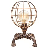 JALAL Retro Industrial Table Lamp Creative Iron Pipe Light with a Hollow Lampshade, Dimming Switch