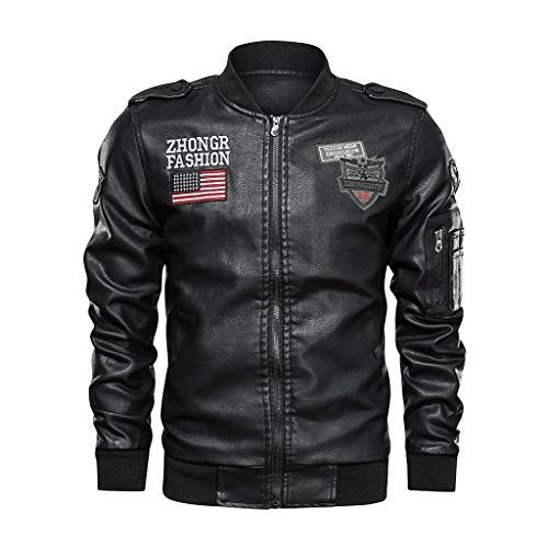 Deelin bomberjack vintage mode heren lederen jas motorfiets applicatie Amerikaanse vlag geborduurd lederen mantel herfst grote maat voor mannen zwart
