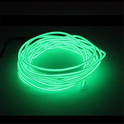 Wankd 5M EL Wire Neon Kabel Glowing Leuchtet Tron Electroluminescent Beleuchtung Licht EL Draht Mit Batterie Trafo für Neujahr Weihnachten Halloween Party Kostüm Rave Geburtstag (Grün)