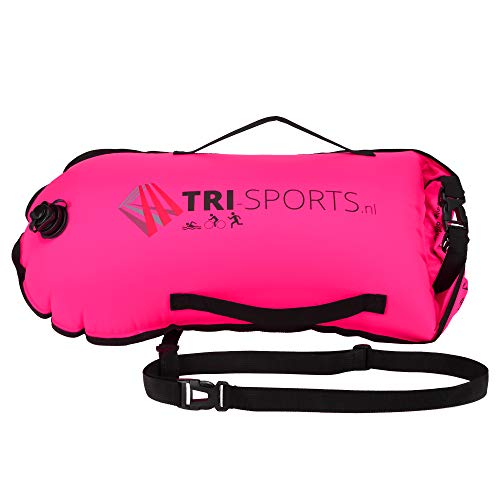 Tri-Sports - Rosa Schwimmboje für Freiwasserschwimmen. Sichtbar für Boote, sicher im Falle von Krämpfen und Sie können Ihre Ausrüstung leicht mitnehmen.