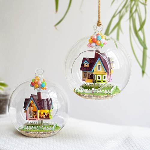 Masun 3D DIY Miniatur-Glaskugel Puppenhaus LED Sound Control Licht Puppenhaus Kreatives Weihnachtsgeschenk