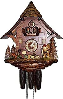 August Schwer Authentic Black Forest Cuckoo Clock Gnome House 8-Day Movement with Music
