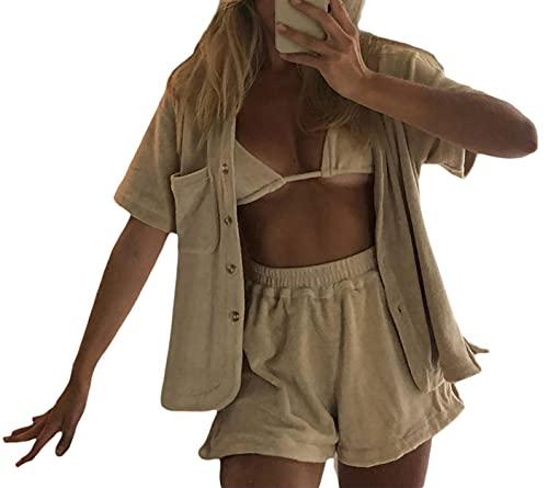 Conjunto de 2 piezas para mujer de verano con camiseta suelta, mini pantalones cortos de manga corta, casual, chándal activo Y2K E-Girl Streetwear, caqui, M