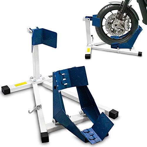 BITUXX® Motorrad Montageständer Motorradwippe vorn Motorradständer Wippe Transportständer Vorderrad Weiß/Blau
