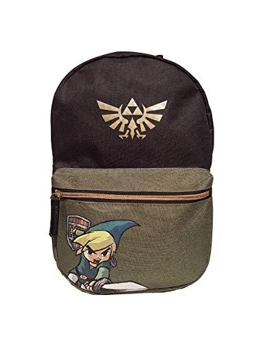Nintendo Legend Of Zelda Legend Of Zelda Black Woods Boys Backpack, Unisex, Black/Green Mochila infantil 41 centimeters 20 Verde (Green)