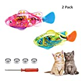 Valkit Swimming Robot Fish Toys,Fish Tank Toy,Activated in Water with LED Light,Cat Toy and Dog Toy,Swimming Bath Plastic Fish Toy with Child