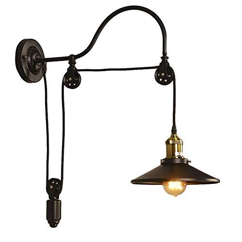 NIUYAO Applique Lámparas de pared Metal Estilo Cuello de cisne Bañadores de pared Ajustable Industrial Retro 1 Luz-Negro