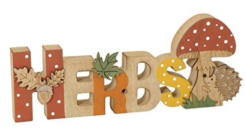 Posiwio dekorativer Schriftzug Herbst mit Igel und Pilz Holz bemalt ca. 25 x 2 x 10 cm hoch