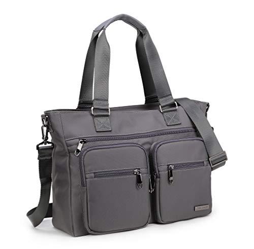 Crest Design Nylon Laptop Shoulder Bag Travel Work Clinic Nursing Tote (Grey)