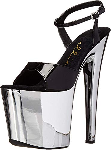 Ellie Shoes Women's 821-chrome, Black/Silver, 10 M US