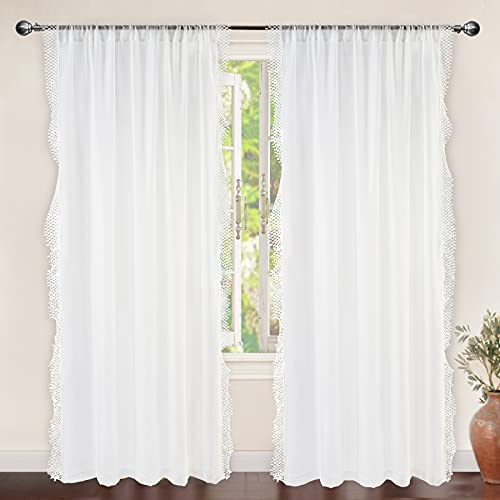 DriftAway Ava Lace and Crochet Trim Voile Sheer Window Curtains Rod Pocket 2 Panels Each 56 Inch by 84 Inch Off White